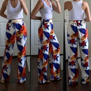 White blue floral high waisted wide leg pants